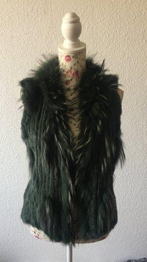 Fur vest dark green