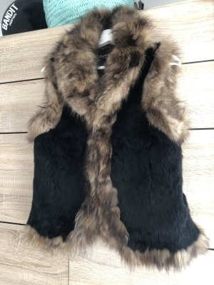 David Moore Fur vest black-brown