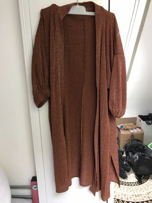 Bershka Long Knitted Vest russet-brown red