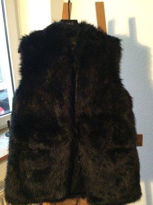 Weste Fellweste Fake Fur schwarz