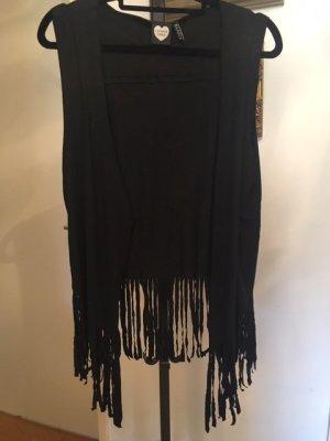 Fringed Vest black mixture fibre