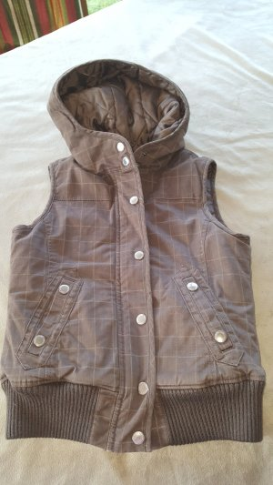 Amisu Capuchon vest wit-bruin