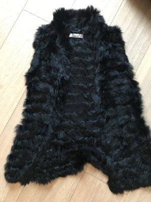 Hallhuber Donna Smanicato di pelliccia nero