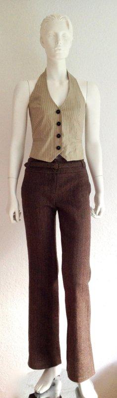 Zara Pantalon de costume brun-brun sable laine