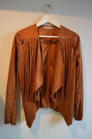 Fringed Vest brown imitation leather