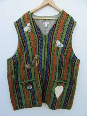 Weste Jacke Damen bunt Vintage Retro Tracht Patch Gr. 56/58
