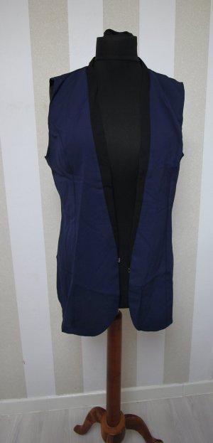 Gilet long tricoté noir-bleu