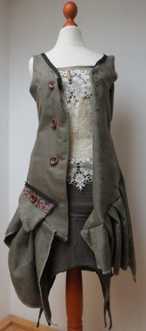 Weste -Jacke Mantel ohne Arm - Goa, Larp, Boho, Hippie, Gothic Wolle S