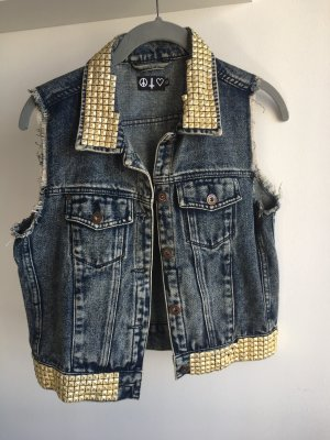 Denim Vest blue-gold-colored