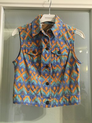 Weste Jeansweste mit Muster Azteken pastell bunt Gr. XS