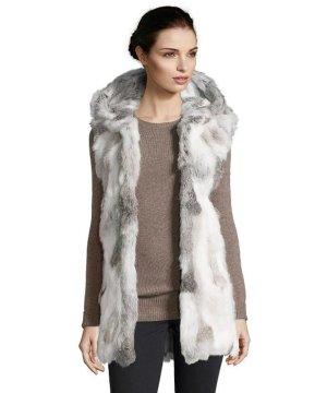 Weste Kaninchen Pelz weiß grau Luxus XS