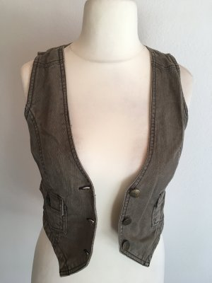 Sublevel Gilet en jean gris brun-marron clair