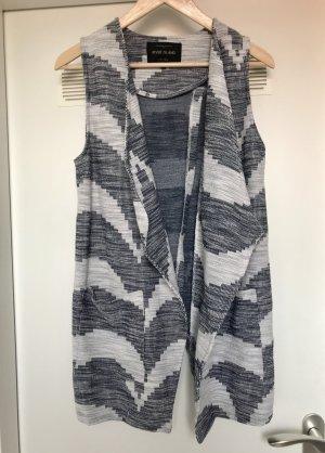 River Island Gilet long tricoté blanc-bleu foncé