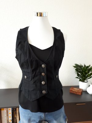 Blue Motion Denim Vest black-silver-colored