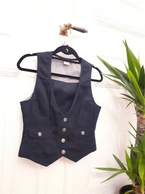 Blue Motion Denim Vest dark blue-silver-colored
