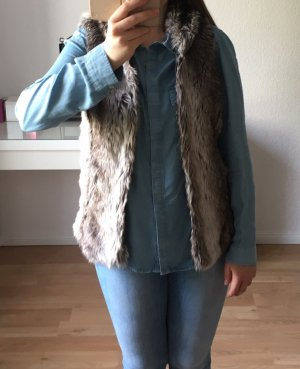 Only Fake Fur Vest silver-colored