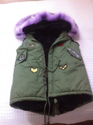 Fur vest forest green-lilac