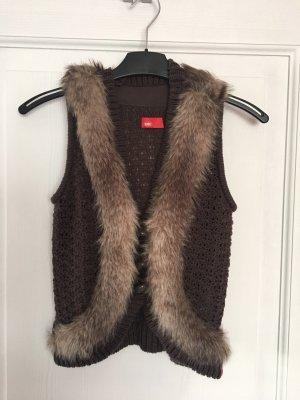 edc by Esprit Knitted Vest dark brown polyacrylic