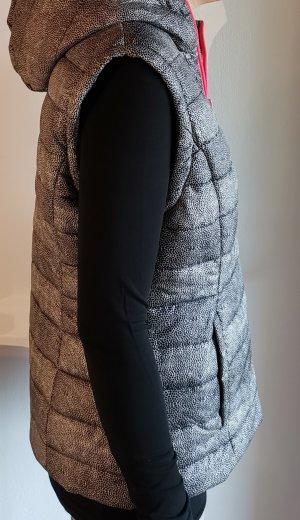 Capuchon vest zwart-neonroos