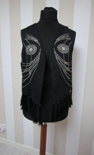 Chaleco de punto negro-color plata
