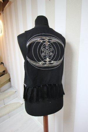 Gilet tricoté noir-argenté