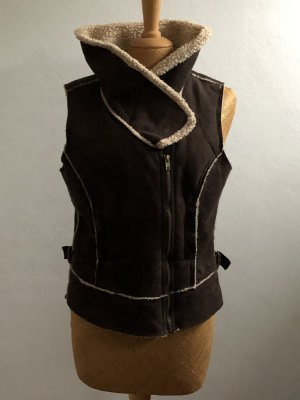 Street One Fur vest black brown-oatmeal