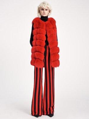 Giacca di pelliccia rosso mattone