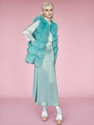 Weste Pelz High Fashion Fuchs Echtpelz Luxus hellblau mintgrün XS S 34 36