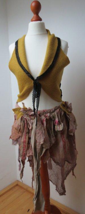Smanicato lavorato a maglia ocra-giallo scuro Lana vergine