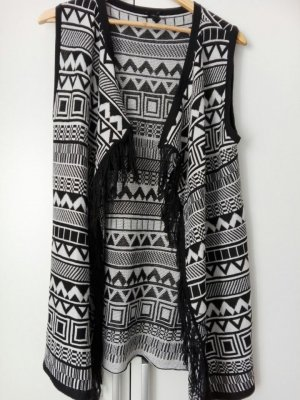 Fringed Vest black-white cotton