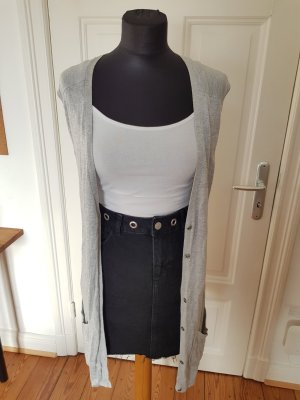 Weste Strick Long Strickweste Grau Viskose Viscose