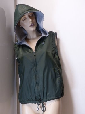 Hooded Vest dark green-light grey polyamide