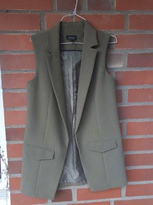 Topshop Chaleco de vestir gris verdoso-caqui