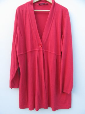 Vintage Long Knitted Vest bright red-salmon