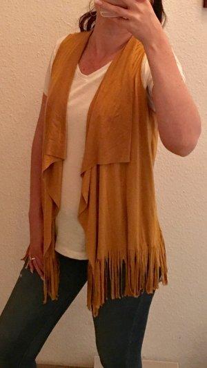 Amisu Fringed Vest dark orange-gold orange