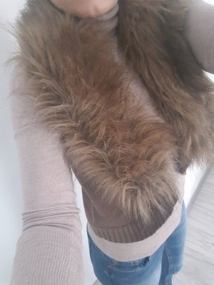 Aniston Fur vest light brown