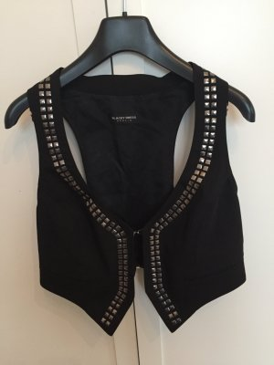 Blacky Dress Biker vest zwart Scheerwol