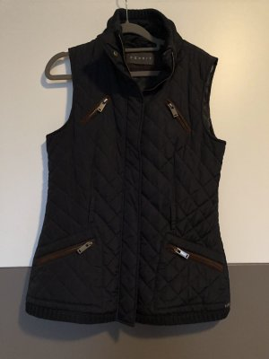 Esprit Quilted Gilet brown-dark blue