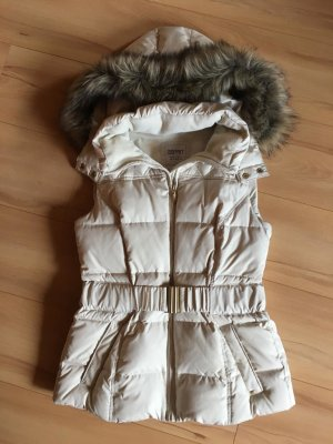 Esprit Quilted Gilet gold-colored-natural white