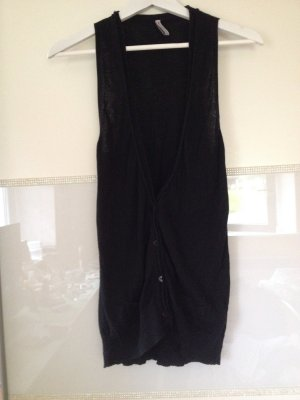 Fishbone Long Knitted Vest black cotton
