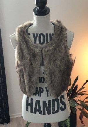 H&M Chaleco de piel marrón claro