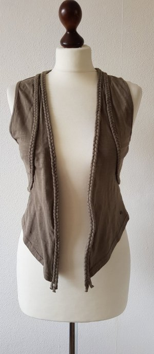 QS by s.Oliver Fringed Vest light brown-brown cotton