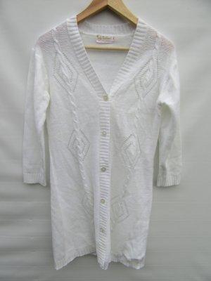 Vintage Cardigan lungo smanicato bianco