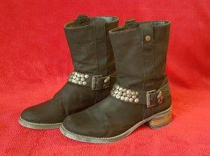 Western black leather boots DE40
