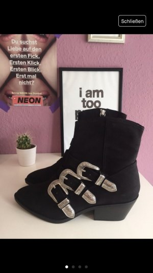 H&M Botines estilo vaquero negro-color plata