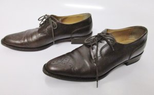 Western Leder Schuhe 40,5 Braun Budapester Spitz Schnürschuhe flach Rockabilly