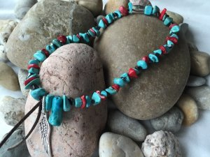 Collier Necklace light blue-red