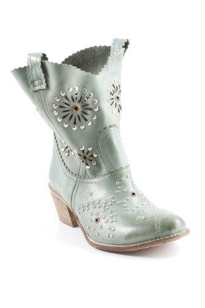 Western Laarzen lichtbruin-grijs-groen straat-mode uitstraling