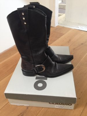 Claudio Western Boots black-silver-colored