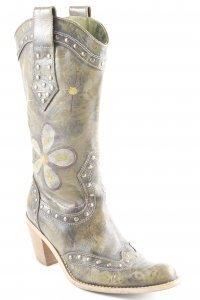 Western Laarzen olijfgroen bloemen patroon Boho uitstraling